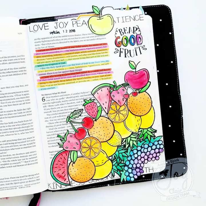 Bible Journaling with Joy Clair Stamp Sets – Life is Sweet & Fruit of the Spirit